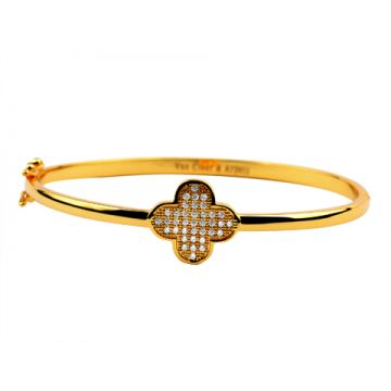 Van Cleef & Arpels Perlee Thin Silver Rose/Yellow Gold-plated Bangle Clover Adornment Paved Crystals Lady Price Malaysia
