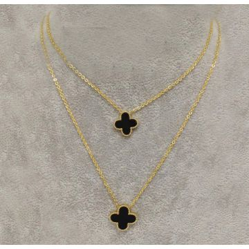 Van Cleef & Arpels Lucky Alhambra Gold-plated Double Chain Black Clover Pendant Necklace Australia Price