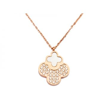 Van Cleef & Arpels Replica Vintage Alhambra Clover Pendant Studded Diamonds Rose Gold-plated Chain Necklace Malaysia Online