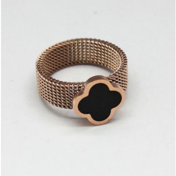 Women VCA Pure Alhambra Wide Mesh Design Rose Gold-plated Ring Black Enamel Paris Retro Style