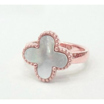 VCA Magic Alhambra Rose Gold-plated Beaded Edge Clover Ring Price In Malaysia Women White MOP/ Red Onyx/Black Onyx/Malachite