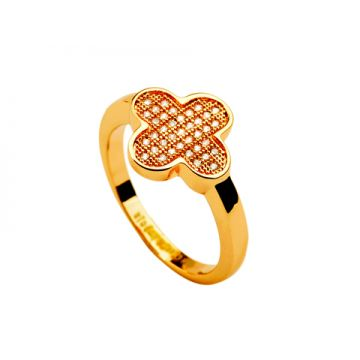 Van Cleef & Arpels Magic Alhambra Yellow Gold-plated Ring Clover Adornment Crystal & Bead Gorgeous Women America