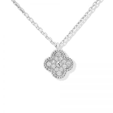 Van Cleef & Arpels Women's Sweet Alhambra Silver Diamonds Chain Necklace VCARO85900 Clover Pendant