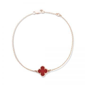 VCA Sweet Alhambra Red Clover Motif Beaded Edge Rose Gold-plated Bracelet Valentine Gift Lady NYC VCARN59K00