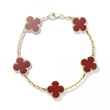 Fake Van Cleef & Arpels Vintage Alhambra Five Red Clover Motif Gold-plated Chain Bracelet For Women Online Dubai VCARD35500
