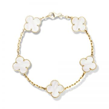 Van Cleef & Arpels Vintage Alhambra Five Clover Pearl Decked Gold-plated Chain Bracelet Miranda Kerr Style Malaysia VCARA41800