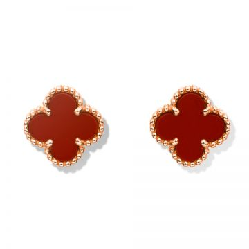 VCA Imitation Sweet Alhambra Clover Motif Red Enamel Earrings Rose Gold-plated Bead Edge Gift Girls VCARN6BO00