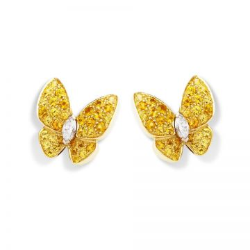 Knockoff Van Cleef & Arpels Fauna Two Butterfly Earrings Studded Yellow Crystals Luxury Sale Office Lady