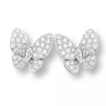 VCA Fauna Celebrities Two Butterfly Diamonds Paved Silvery Earrings Price Dubai 2018 VCARB82900