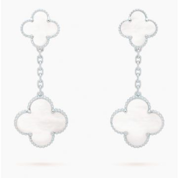 VCA Magic Alhambra Lady Silver-plated Drop Earrings Clover Pendant Pearl Street Fashion Sale Malaysia
