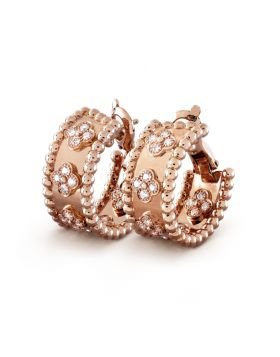 VCA Perlee Clovers Rose Gold-plated Beaded Hoop Crystals Earrings Cocktail Party Sale London Lady VCARO2MK00