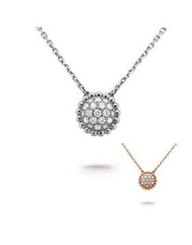 Elegant VCA Perlee Diamants Sunflower Pendant Silver/Pink Gold Chain Necklace Decorated Crystals UK Sale Lady VCARO9PC00/VCARO9PE00
