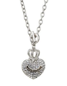 Juicy Couture Pave Heart Banner Logo Starter Silver Chain Necklace Crystals Cool Style For Unisex US