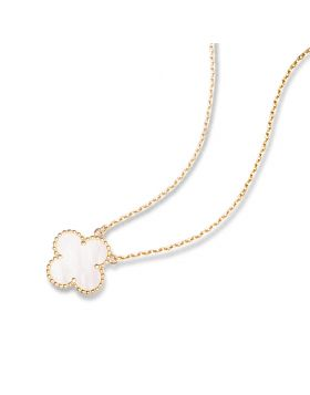 VCA Vintage Alhambra Fake Women Yellow Gold-plated Chain Necklace Pearl Decked Clover Pendant Sale Australia VCARA45900