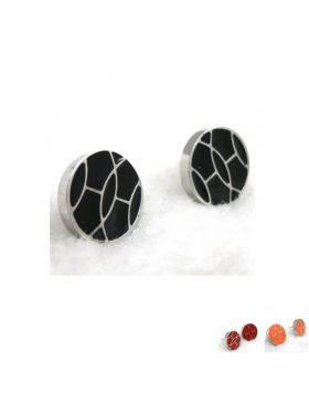 Copy Hermes 316L Steel Earrings With Red/Orange/Black Enamel Vintage Style Sales Canada Unisex