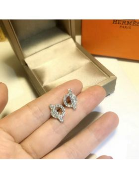 Hermes Ladies 925 Sterling Silver Earrings Elegant Style Diamonds Ear Studs Canada Sale Replica