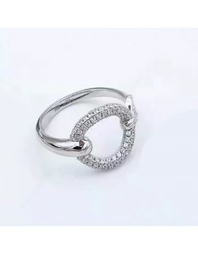 Hermes Filet D'or Silver Ring Oval Decoration Studded Crystals Review UK Paris Style For Women