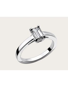 Bvlgari Griffe Womens High Quality 18K White Gold Solitaire Ring For Wedding Size 5678(US) AN853572