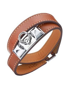 Hermes Rivale Double Tour Vogue Brown Leather Pyramid Bracelet Silver-Plated Hardware For Sale UK H064644CK18S