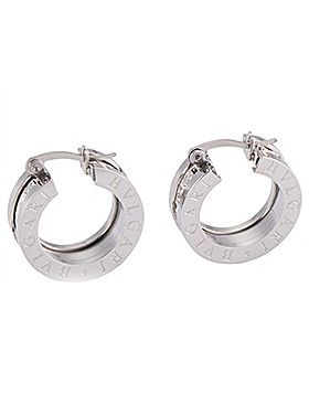 Bvlgari B.zero1 Silver Hoop Earrings With Logo Paved Crystals Women Gifts Sale 2018 Italy OR855540 345581