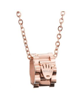 Unique Ornate Rolex Rose Gold Color Pendant With Logo Necklace Prices In Malaysia For Women & Men