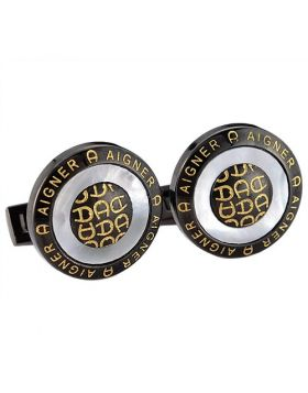 Aigner Men Vintage Black Cufflinks Round Shape Golden Logo With Pearl French Style Price Dubai