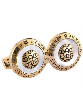 Luxury Style Aigner Yellow Gold-plated Cufflinks For Men Symbol Engraved Pearl Surface Birthday Gift Canada