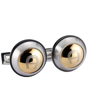 Aigner Imitation Rose Gold & Silver Logo Black Cufflinks Ryan Reynolds Style Party Price List London