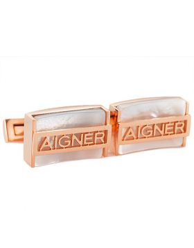 Dupe Aigner Rose Gold Color Rectangular Men Pearl Logo Decked Cufflinks Engagement Gift Celebrity Singapore