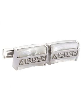 Aigner Rectangle Silver Cufflinks For Men Hollow-out Signature White Pearl Face Price Europe Business/Party