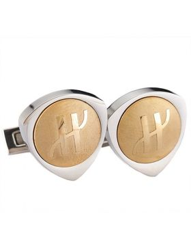 Hublot Silver & Golden Triangle Cufflinks With Logo 2018 Street Fashion For Businessmen On Sale LA