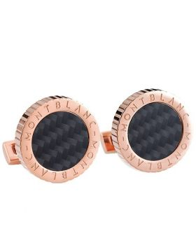 Replica Montblanc Men Rose Gold Color Cufflinks Striped Border Signature Black Motif Online Shopping Malaysia