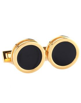 Hugo Boss Simony Yellow Gold-plated Men Cufflinks Black Face Cocktail Party Sale Malaysia