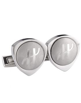 Copy Hublot Silver Cufflinks Triangular Decked Symbol Meeting/Dating For Sale Men India