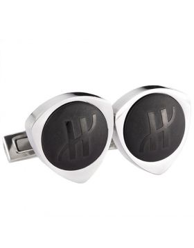 Hublot Cufflinks Triangle Design Black Surface With Logo Silver Side Elegant Men Sale Sydney