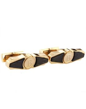 Knockoff Breitling Wing Cufflinks Golden & Black B Symbol Personalized Gift For Boyfriend Meeting Italy Price List