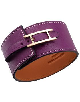 Hot Style Hermes Purple Hapi Wide Leather Gold-Plated H Logo Hardware Bracelet Price Canada