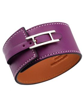 Hermes Hapi Wide Chic Silver-Plated H Logo Buckle Purple Leather Bracelet Colorful Party On Sale