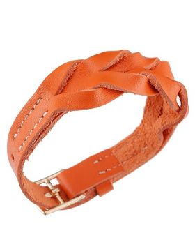 Hermes Hippique Orange Woven Leather Bracelet Party Style Yellow Gold Plated Buckle Lady Sale Dubai