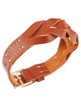 Hermes Stylish Hippique Yellow Gold Plated Buckle Tan Woven Leather Bracelet Women/Men 2018 Price UK
