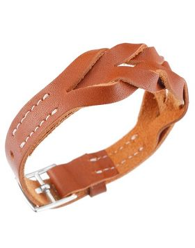 Clone Hermes Hippique Street Style Braided Leather Tan Bracelet Silver-Plated Buckle Valentine Gift Unisex