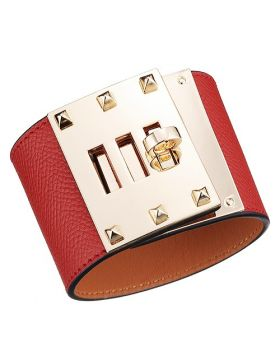Replica Hermes Kelly Dog Gold-Plated Rotating Buckle Wide Red Leather Bracelet Colorful Party USA H072970CC53T2