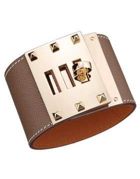 Fake Hermes Kelly Dog Yellow Gold Plated Rotating Buckle Grey Wide Leather Bracelet Street Fashion