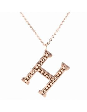 Clone Hermes Unisex Rose Gold-plated H Logo Chain Necklace Encrusted Beaded Pendant Hip-Hop Style NYC