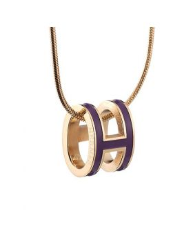 Hermes Pop H Purple Lacquer Studded Pendant Yellow Gold-plated Necklace For Unisex Paris