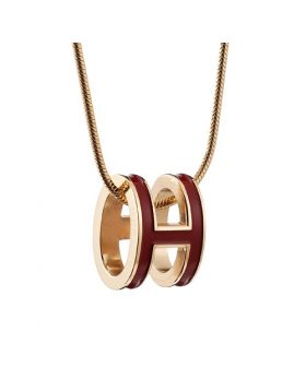 Wholesale Hermes Pop H Dark Red Pendant Decked Lacquer Imitation Gold-plated Chain Necklace Lady