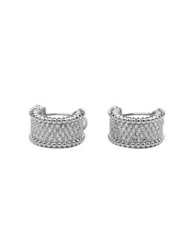 Dupe VCA Perlee Silver Pink/Yellow Gold Wide Hoop Earrings Engraved Diamonds Bead Style Women Canada
