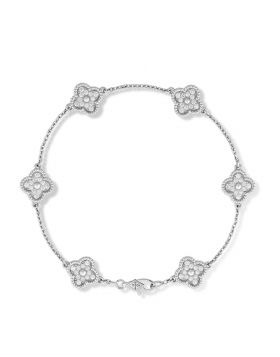 Replica Van Cleef & Arpels Women's Sweet Alhambra Six Clover Motif Paved Diamonds Silver Chain Bracelet Sale VCARO85700