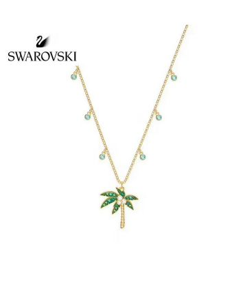 Swarovski Palm Tree Pendant Ladies Yellow Gold Multicolor Crystal Necklace For Sale HK