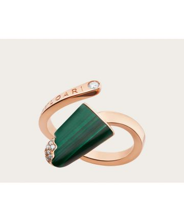 Good Quality Bvlgari Bvlgari Gelati White Mother-Of-Pearl Green Malachite Diamonds Paved Ladies Rose Gold Open Rings AN858329/AN858014